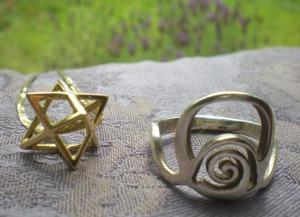 Merkaba pendant and abundance ring by Ka Gold Jewelry