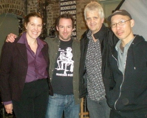 "Cynthia Sue Larson with Director Stephen Grant and film crew for Discovery channel's ""Weird or What?"""
